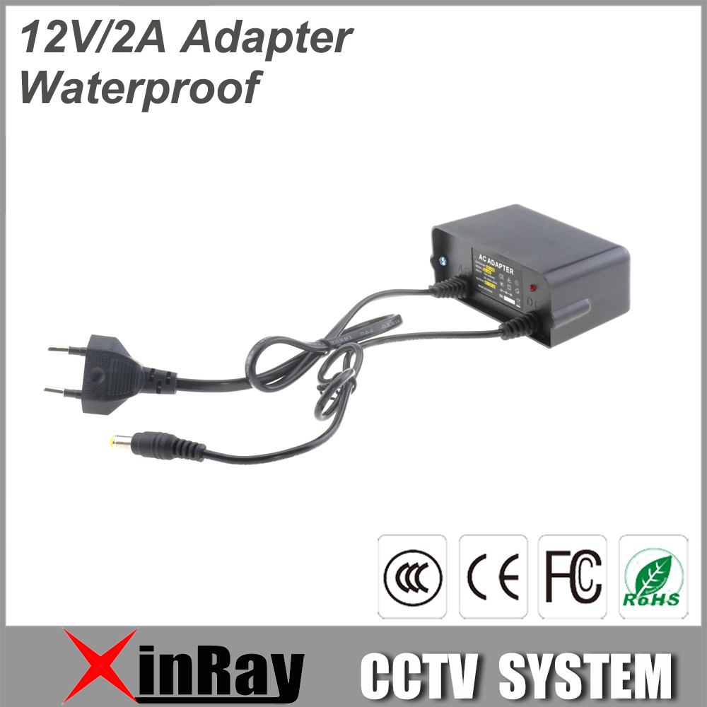 New Waterproof Power Adapter DC12V 2A Power Supply For CCTV Camera Wall Hanging Outdoor Power Adapter XR-PA3 12v 5a 8ch power supply adapter work for cctv suveillance camera system dc 12v power supply 8 port dc pigtail coat