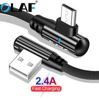 OLAF 2.4A Micro USB Fast Charge 90 Degree Elbow Cable for Samsung S7 For Xiaomi 4 Mobile Phone USB Charging Cord Microusb Cable