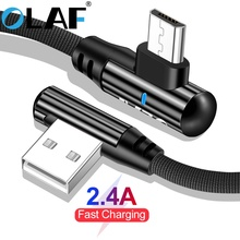OLAF 2.4A Micro USB Fast Charge 90 Degree Elbow Cable for Samsung S7 For Xiaomi