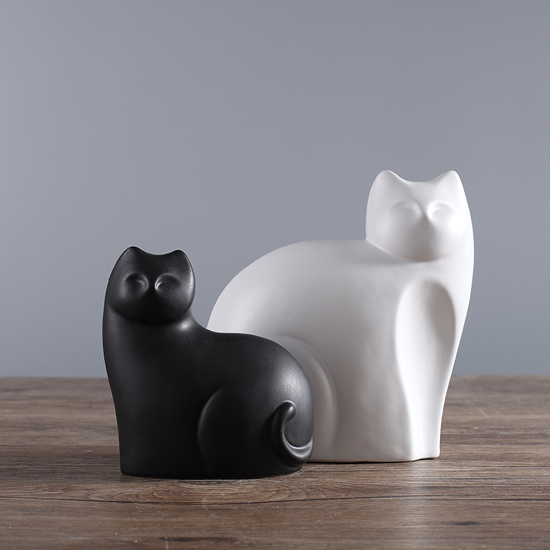 creative ceramic animal figurines white and black cat figure statues ornaments handmade modern decorative home decor