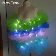 Fashion dance LED tutu mini skirt Up Neon Fancy Rainbow Mini Tutu Fancy Costume Adult light Skirt TFS Corset Tutu Skirt