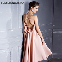 High quality sexy backless vestidos pink bubble spaghetti strap short party girl dress 6356