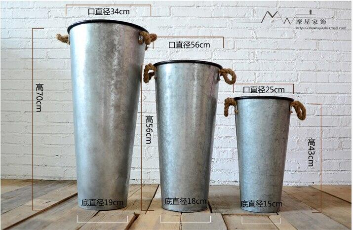 Wedding florist flowers barrels. Waterproof. Antirust. Do old retro. Tin bucket