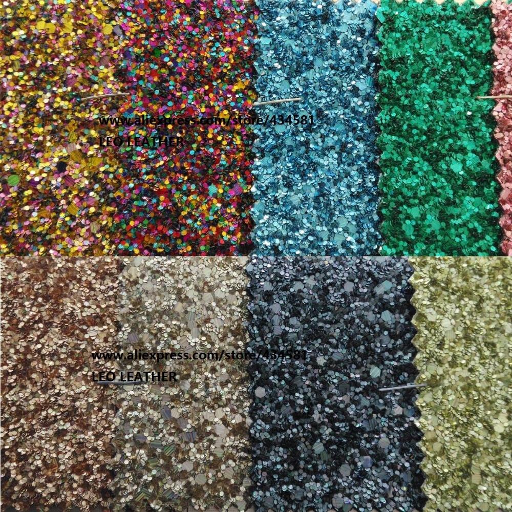 Faux Cuir Tissu Glitter Chunky glittle en cuir Dentelle Tissu pour Couture BRICOLAGE Tissu En Cuir P799