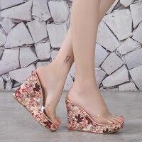Colorful Sandals Wedge Heels Plastic Womens Sandals Summer High Heel Platform Crystal Sandals Lady