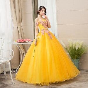 Image 3 - EZKUNTZA New Quinceanera Dresses Gold Off The Shoulder Flower Ball Gown Party Prom Quinceanera Gown Vestidos De Quincea Era 2019