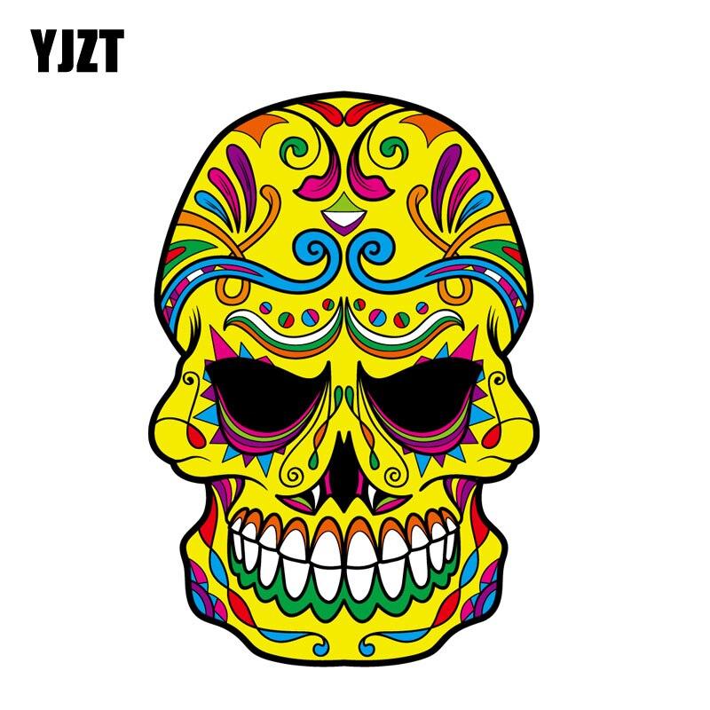 YJZT 9.3 cm * 13.5 cm Moto Couleur Décoratif Corps Autocollant De Voiture Crâne Decal 6-2419