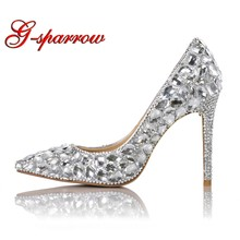 b2802a3ada6 2018 Pointed Toe Shinning Crystal Wedding Shoes T-stage Performance High  Heel Shoes Gorgeous Stone Cinderella Prom Shoes