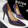 New Arrival Korean Shiny Sexy Pointed Toe Party Shoes Women Pumps Fashion Sequined Cloth Skin Shallow High Heels Shoes for Women