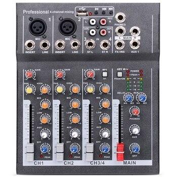 Eu Plug Mini Portable Audio Mixer With Usb Dj Sound Mixing Console Mp3 Jack 4 Channel Karaoke 48V Amplifier For Karaoke Ktv Ma