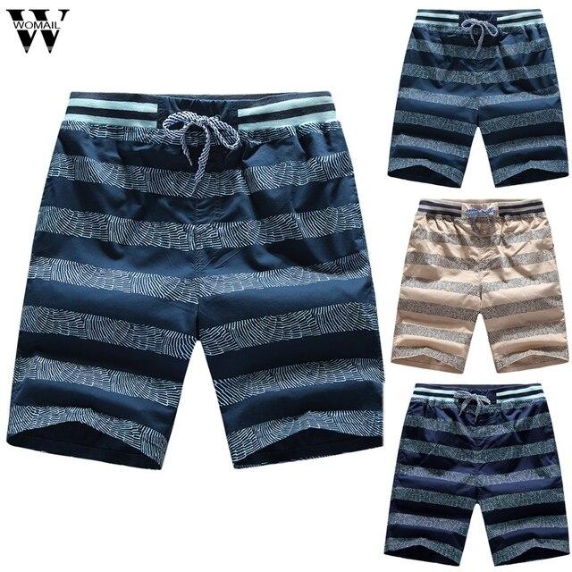 Womail shorts Homens Moda Verão Impressão Shorts Esportes Cinto de Elástico Na Cintura Com Cordão Calções de Praia Soltas Presente Diariamente 2019 m26