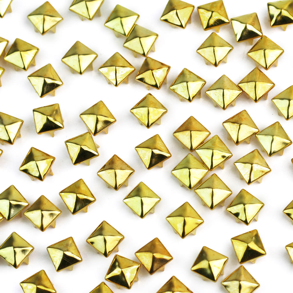 100 Pcs/Lot Gold Color Plated Pyramid Studs Spike DIY Hand Make ...