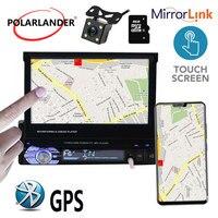 Bluetooth зеркальная поверхность Подключение gps сенсорный экран MP5 1 din 12 Многоязычная стерео FM USB TF видео 7 дюймов Автомобильный Радио плеер