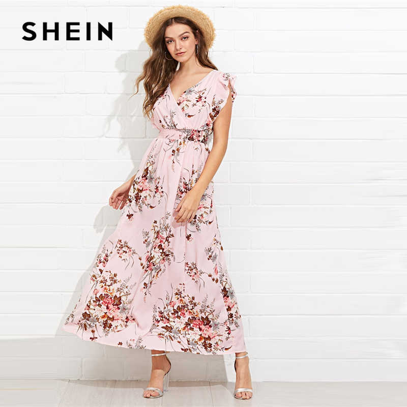 bce90db03d SHEIN Multicolor Ruffle Embellished Shirred Waist Floral Maxi Dress V Neck  Cap Sleeve Butterfly Sleeve 2019