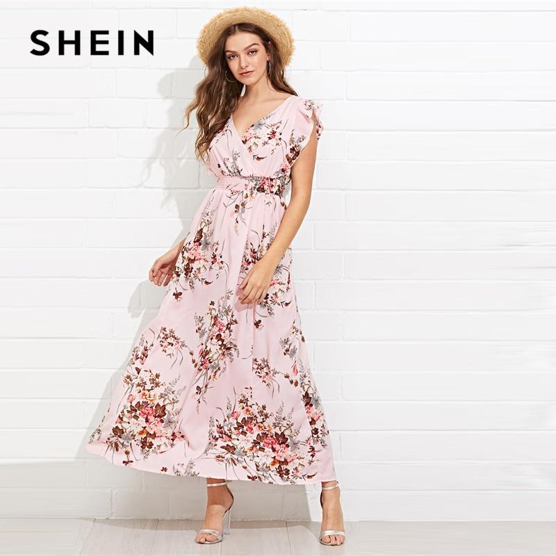 Шеин многоцветный рябить отделкой присборенным поясом Цветочный Макси платье V шеи Кепки рукавом бабочка рукав 2019 весенние платья