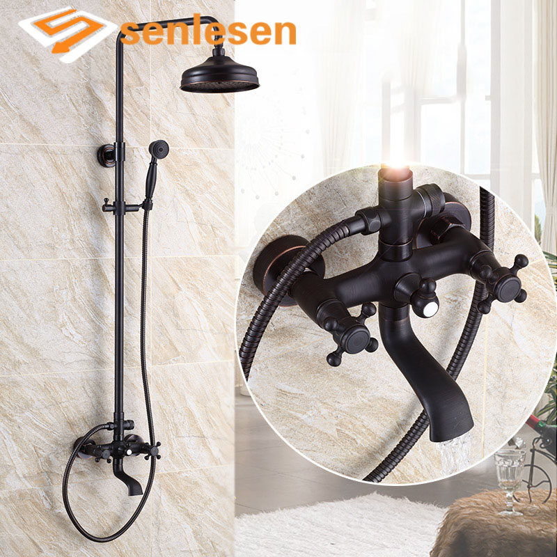 Senlesen Black Brass Shower Faucet Set Dual Handles Hot and Cold Water Mixer Tap Ceramic Valve Para Bath Shower Faucets xueqin bathroom bath shower faucets water control valve wall mounted ceramic thermostatic valve mixer faucet tap
