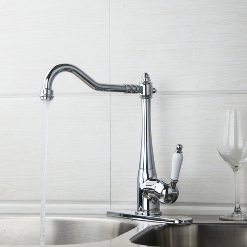 Hot Sell Deck Mount Single Handle Kitchen Torneira Swivel Chrome Cover Plate 84855724 Sink Water Tap