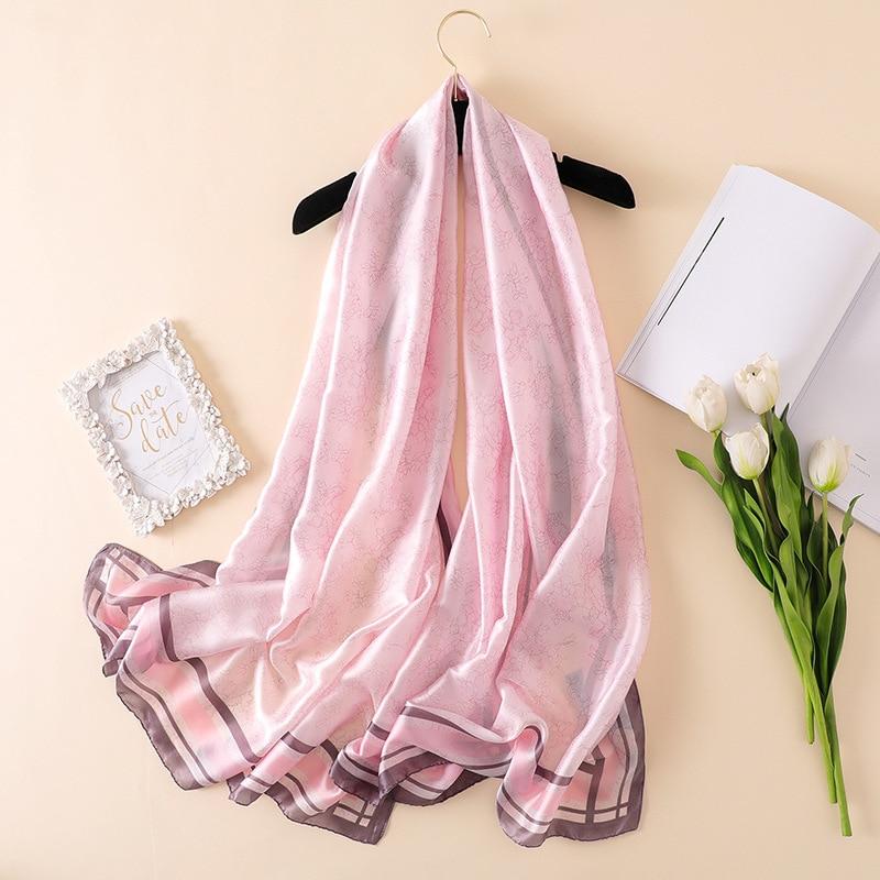 2018 zomer nieuwe luxe merk dames sjaal mode-print kwaliteit zijden sjaals ontwerper sjaals en wraps lang formaat bandana foulard
