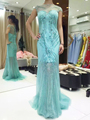 Haute Couture Emerald Green Celebrity Dress Boat Neck Full Embroidered See-through Long Evening Dress 17MYED041 MYEDRESSHOUSE