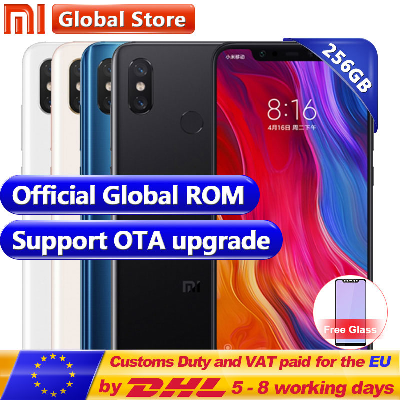Nouvelle D'origine Xiao mi mi 8 256 gb ROM Snapdragon S845 Octa Noyau Mobile Téléphone 6 gb RAM 3400 mah double 12.0MP + 20.0MP 6.2 2248*1080 FHD +