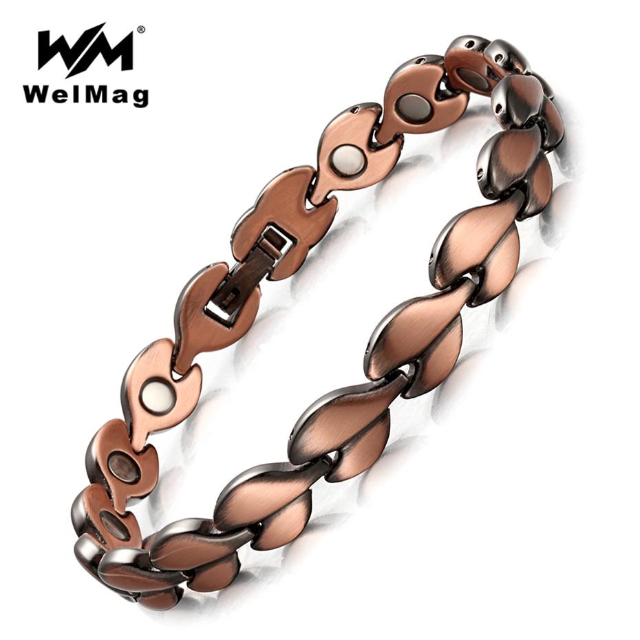WelMag Red Copper Healing Magnetic Bracelets for women Bio Energy Bracelets & Bangles Health Female Jewelry Relieve arthritis
