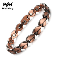 WelMag Red Copper Healing Magnetic Bracelets For Women Bio Energy Bracelets Bangles Health Female Jewelry Relieve