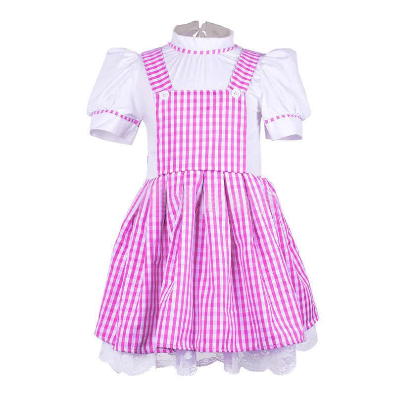 Горячие дети девочки Хэллоуин вечерние Волшебник из страны Оз Дороти принцессы нарядное платье горничной Платье для косплея костюмы 90 см-155 см