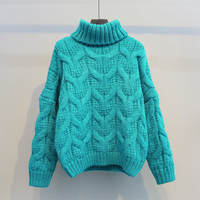 Autumn And Winter Loose Turtleneck Green Pullover Twisted Women Sweater Coarse Thickening Warm Knitted Warm Outwear