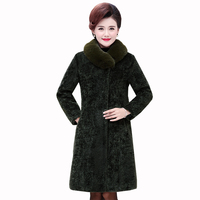 High end Women's winter coats thick warm Sheep shear velvet jacket middle aged female cashmere long coat fur collar size5XL coat