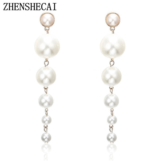 Statement multiple long pearls drop earrings Vintage jewelry gorgeous chandelier earrings for women best gifts e0207