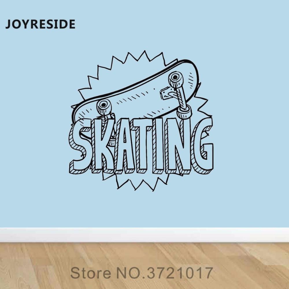 JOYRESIDE Skateboard Ride Wall Skating Decal Vinyl Sticker Art Decor Boys Children Kids Fun Teenager Room Home Mural Design A388