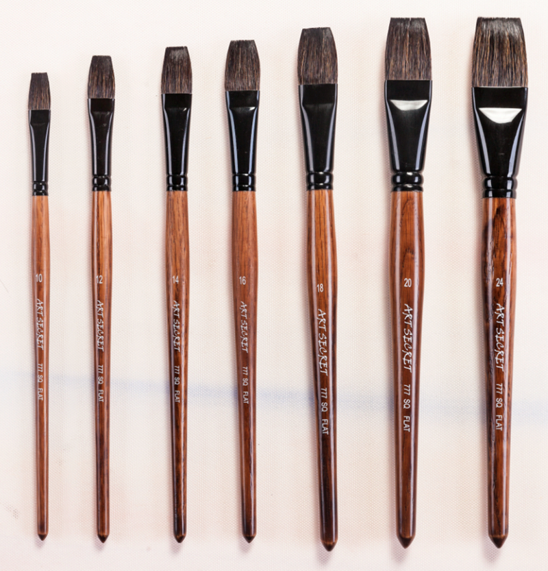 777SQFlat high quality squirrel hair black brass ferrule oak wooden handle watercolor paint art brushes artistic for drawing