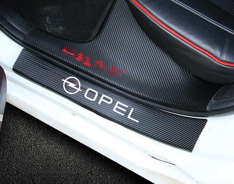 Autocollant de protection de seuil de porte en Fiber de carbone pour voiture 4 pièces pour Opel Astra H G J Insignia Mokka Zafira Corsa Vectra C D