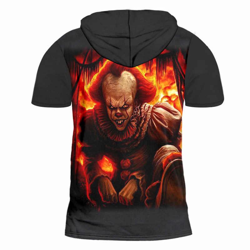 OGKB летние худи футболка Для мужчин прохладный Печати Пламя Джокер 3D футболка с капюшоном мужской хип-хоп худи с коротким рукавом модная одежда пальто