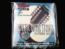 Alice a2012 cordas de violão acústico 12 cordas, aço inoxidável revestido de cobre wound 1 st-12 cordas frete grátis