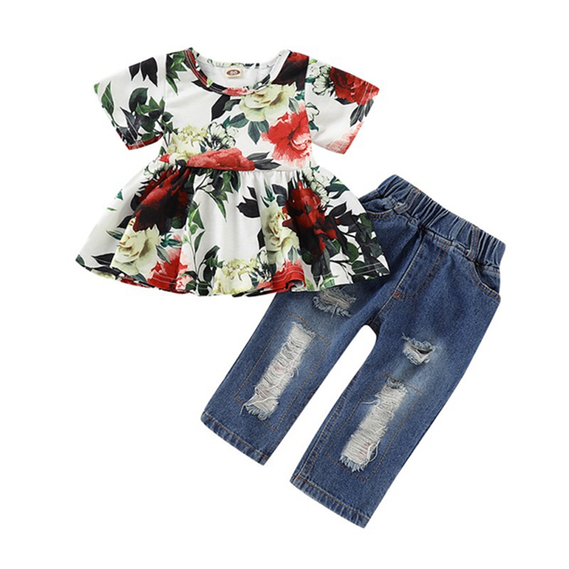 Bowknot Floral Shorts 2PCS Clothes Set Weixinbuy Baby Girls Lolly T-shirt Tops