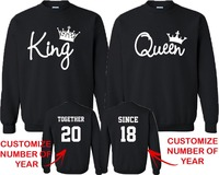 Custom Christmas Gift Couple Matching CREWNECK King Queen FASHION TOGETHER SINCE Back DATE NUMBERS Personzlied Anniversary Day