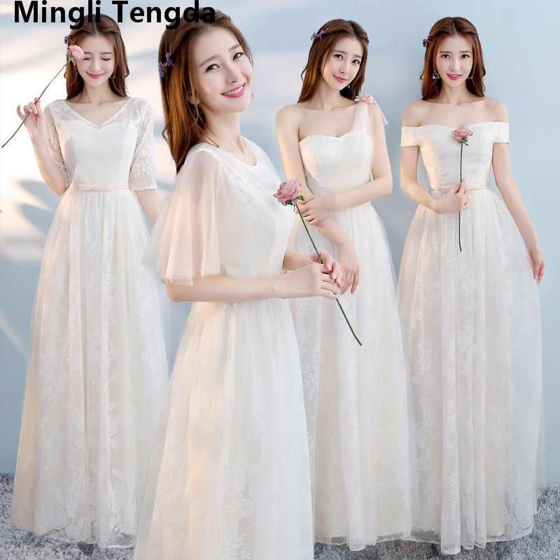 Six Style Bridesmaid Dresses Sisters Skirts Wedding Dresses Off the  Shoulder Champagne Lace Bridesmaid Dresses Mingli b82c9f42e762