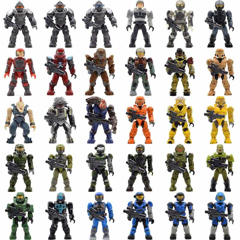 Single Sale Halo Building Blocks with Guns Monsters Humans Warriors Spartans Wars Games Covenants Bricks Kids Toys