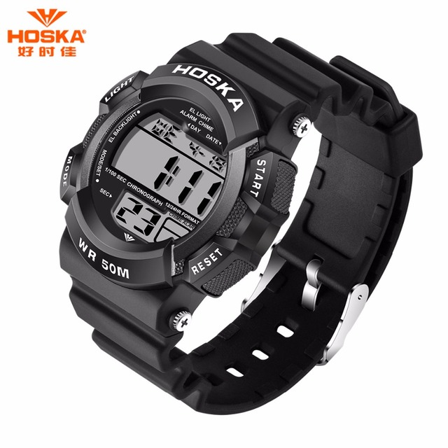 New Men Sports Watches Brand HOSKA LED Electronic Wristwatch 50 Meters Waterproof Fashion Man Outdoor Diving Digital Watch hd007
