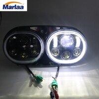 Marlaa 5 3/4 двойной луч мотоцикл Проектор день производитель двойной светодиодные фары с Halo для Harley Davidson Road glide 2004 ~ 2013