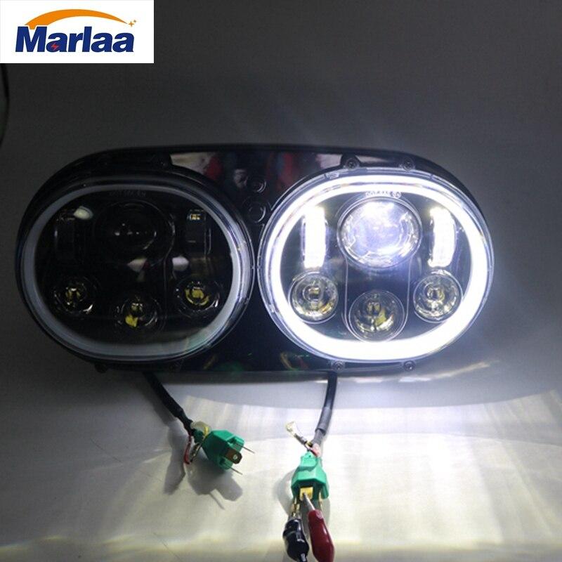 Marlaa 5-3/4 Double Faisceau Moto Projecteur Fabricant De Jour Double LED Phare Avec Halo pour Harley Davidson Route Glide 2004 ~ 2013