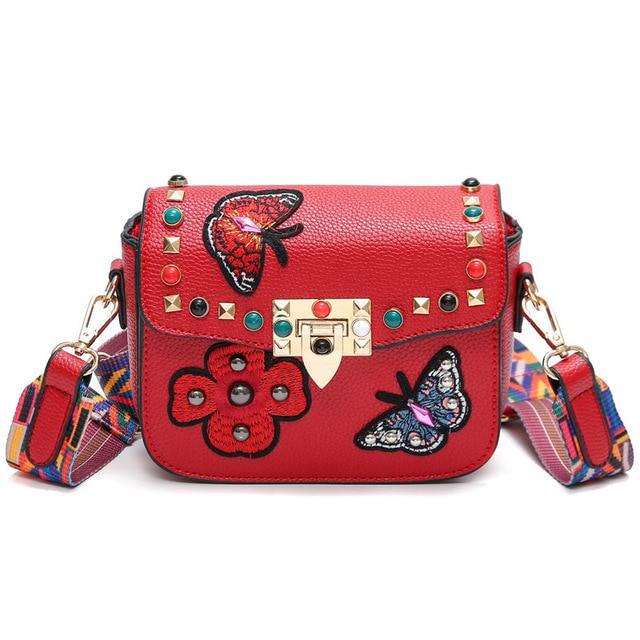 2017 Fashion Embroidery Floral Rivet Women Bag Butterfly Designer Handbags  wide strap vintage Shoulder Crossbody Bag New style   10ba2a338f