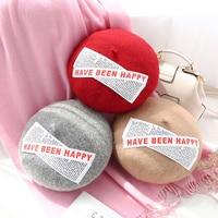 Female Artist Match Winter Beret Cap Vintage Wool Beret Pumpkin Casual Hat Tide Warm Knitted Hats