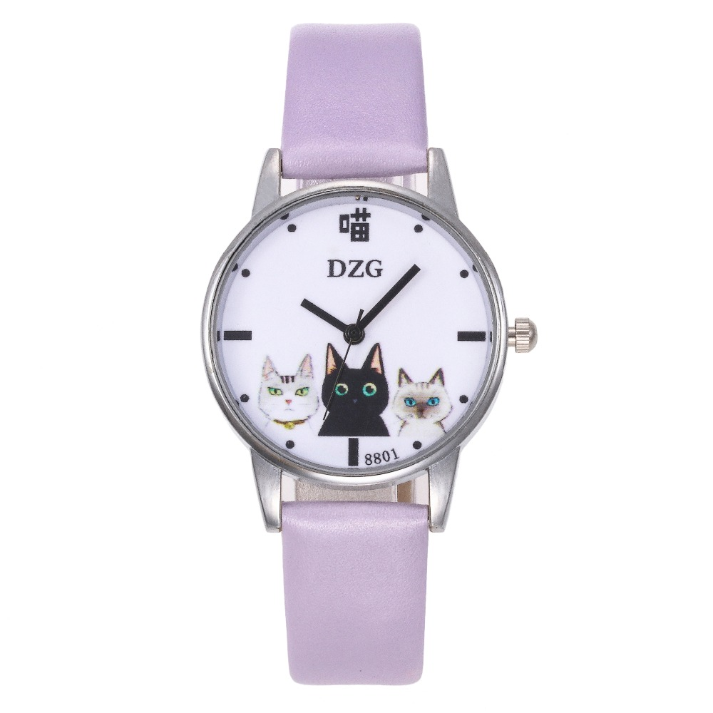 2020 New Fashion Children's Wrist Watch Cat Pet Kitten Girl Leather Clock Quartz Dial Daily Sports School Relogio Masculino Saat