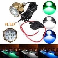 Smuxi 27W 9 LED Boat Drain Plug Light Waterproof IP68 Rate Blue Brightest 1800 Lumens Underwater Boat Lamp Yacht light
