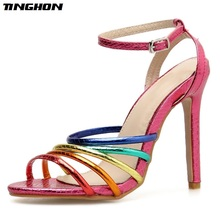 TINGHON Summer Sexy Sandals Gladiator Miexd Color High Thin Heels Shoes Woman Casual Buckle Lady Size 35-40