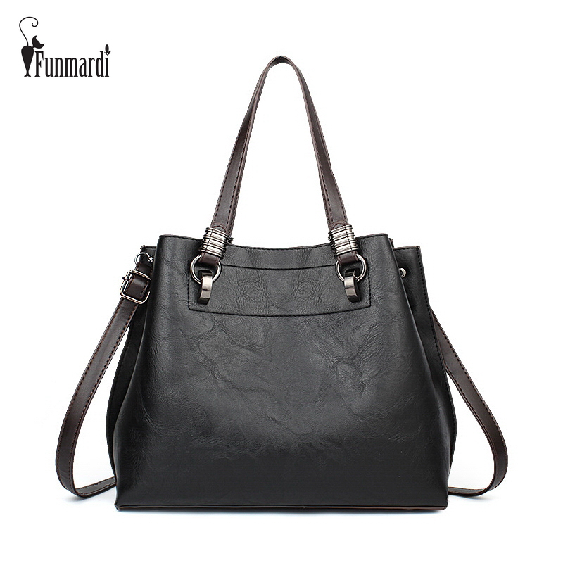 FUNMARDI High capacity 3 Layer Design Women Handbags Vintage PU Leather Bags Luxury Crossbody Bags Fashion Women Bags WLHB1726
