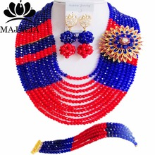 Fashion Majalia african jewelry set blue and red Crystal Nigeria Wedding african beads jewelry sets CX-036(China)