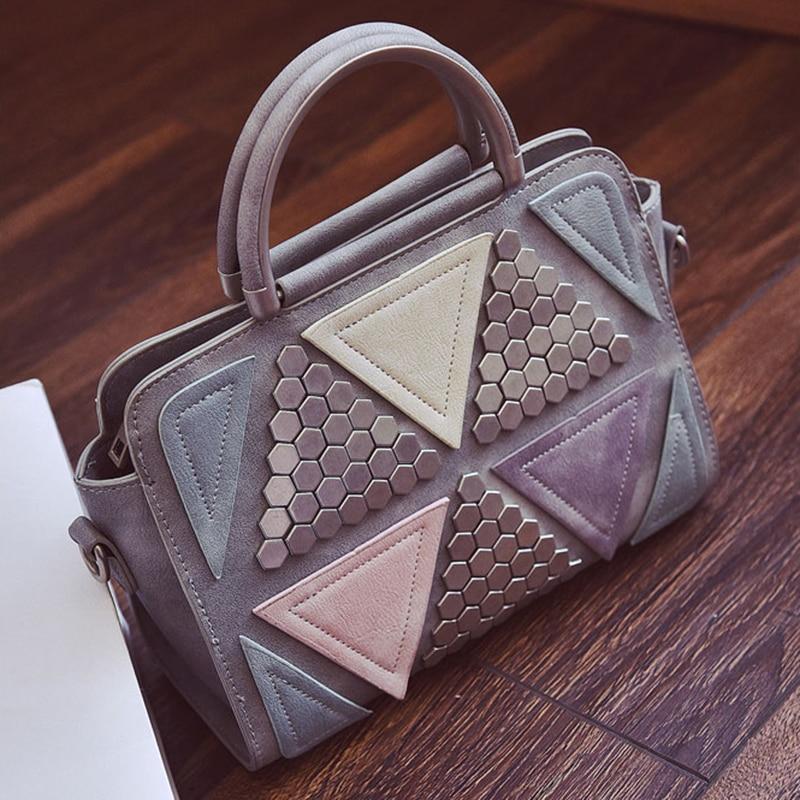 New Arrival 2018 fashion womens handbag young lady rivet bags pretty girls casual shoulder bag woman messenger crossbody bag